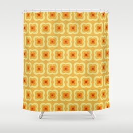 Yellow Retro Flower Pattern Shower Curtain