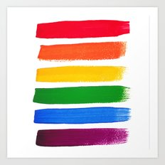 Vector rainbow watercolor brush strokes Art Print