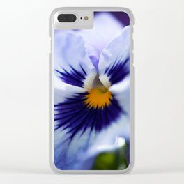 Blue Pansy Clear iPhone Case