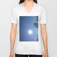 the wire V-neck T-shirts featuring High Wire by Max Jones