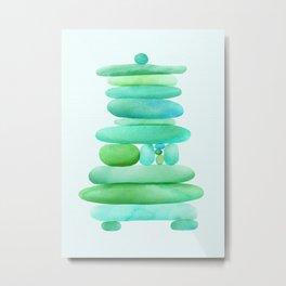 Sea Glass Cairn Watercolor Metal Print