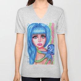 Mermaid with Blue Octopus Fantasy Art Illustration Unisex V-Neck