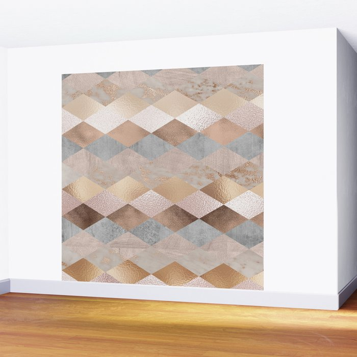 Copper and Blush Rose Gold Marble Argyle Wall Mural