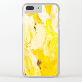 Bold Yellow Tulips Clear iPhone Case