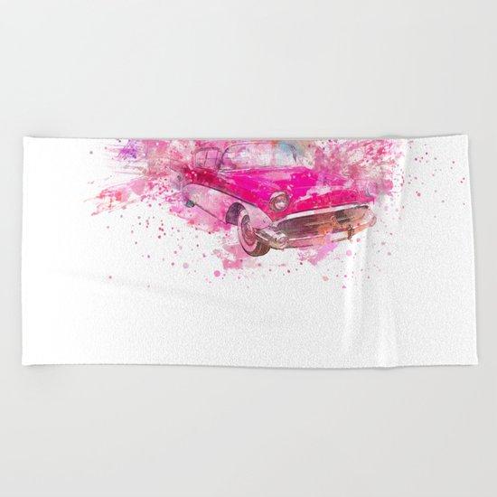 Pink Retro Car mixed media watercolor art Beach Towel