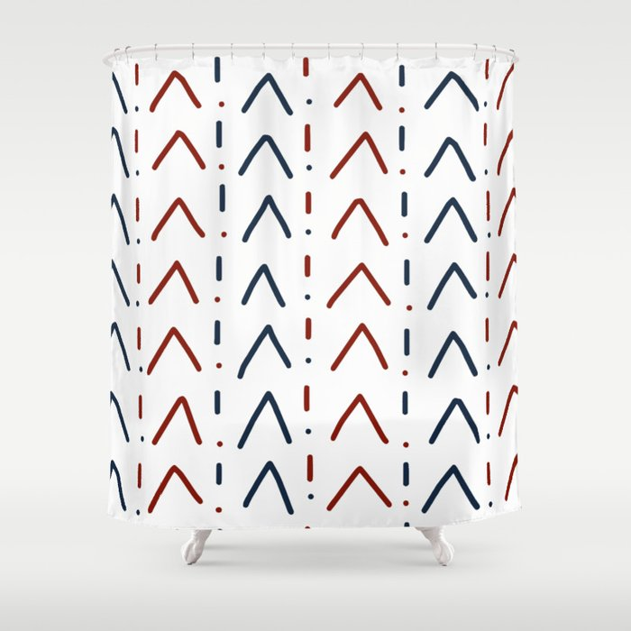Hand Drawn Navy Blue And Crimson Red Shower Curtain By Deanng