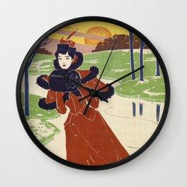 Vintage Winter 1896 women fashion Wall Clock