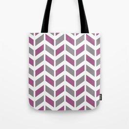 Mauve, gray and white chevron pattern Tote Bag