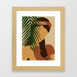 Tropical Reverie - Modern Minimal Illustration 10 - Girl with palm leaf - Tropical Aesthetic - Brown Framed Art Print