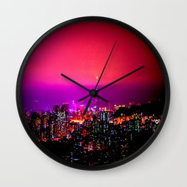 City Skyline Fuchsia Pink Sunset Wall Clock