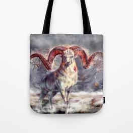 Argali , burning horns Tote Bag