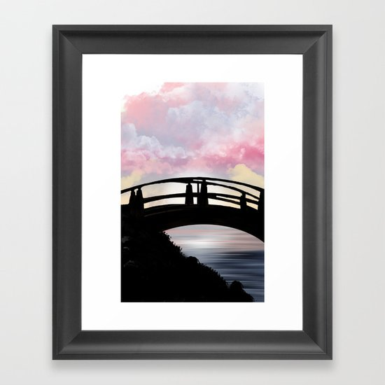 Sunrise on a bridge Framed Art Print