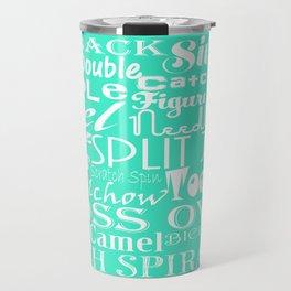 Mint Figure Skating Subway Style Typographic Design Travel Mug