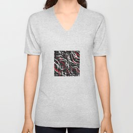 Black Red and White Bold Circle Design Abstract Unisex V-Neck