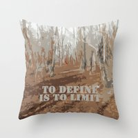 sayings Throw Pillows featuring Oscar Wilde #6 To define is to limit by bravo la fourmi