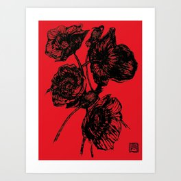 Poppies In Bloom - Red  Art Print