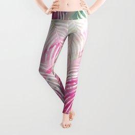 Tropical blush pink mint green white watercolor palm tree Leggings