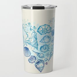 Heart of the shells. Hand drawn illustration Travel Mug