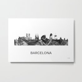 Barcelona, Spain Skyline WB BW Metal Print