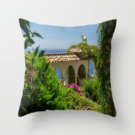 The Golden Goat of Eze Village Throw Pillow