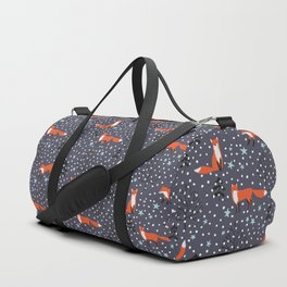 Red foxes in the nignt winter forest Duffle Bag
