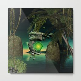 The flying rock with clock Metal Print