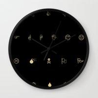 emoji Wall Clocks featuring EMOJI ART by Will Wilkinson