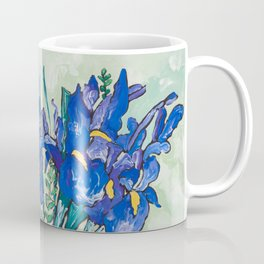 Iris Bouquet in Chinoiserie Vase on Blue and White Striped Tablecloth on Painterly Mint Green Coffee Mug