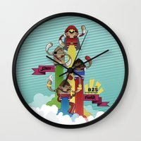 street fighter Wall Clocks featuring Street Fighter 25th Anniversary!!! by Ed Warner