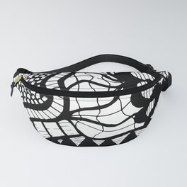 Free Hand Black and White Mix of Patterns Drawing Fanny Pack