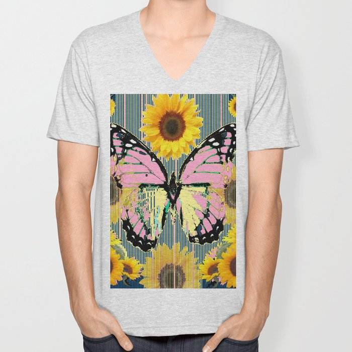ABSTRACT PINK BUTTERFLY TEAL GARDEN SUNFLOWER Unisex V-Neck