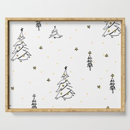 Modern Christmas Trees Sketch Black and White with Gold Stars Serving Tray