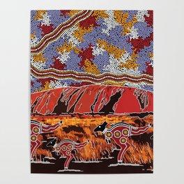 Uluru (Ayers Rock) Authentic Aboriginal Art Poster