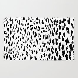 Cheetah II Black & White Animal Print Rug