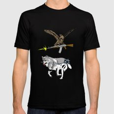 OWL WOLF ALLIANCE 3 Black SMALL Mens Fitted Tee