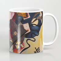 kandinsky Mugs featuring Wassily Study Repro yellow red blue 1925  by Christine baessler