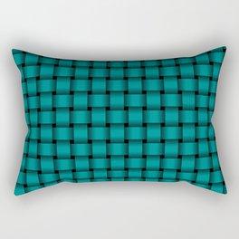 Small Dark Cyan Weave Rectangular Pillow