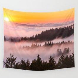 Bolinas Ridge Foggy Sunset Wall Tapestry