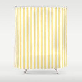 Modern geometrical baby yellow white stripes pattern Shower Curtain
