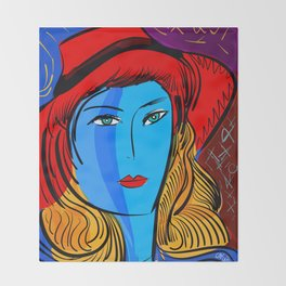 Christmas Blue Pop Girl with Red Hat Throw Blanket