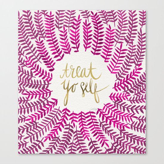 Treat Yo Self – Pink & Gold Canvas Print