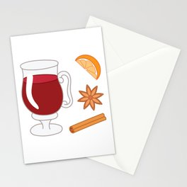 Mulled wine, spiced wine pattern. Stationery Cards