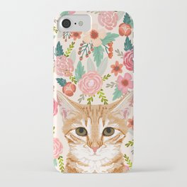 Orange Tabby floral cat head cute pet portrait gifts for orange tabby cat must haves iPhone Case