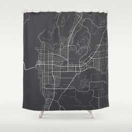 Kelowna Map, Canada - Gray Shower Curtain