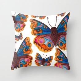 Blue Buckeye Butterflies Throw Pillow