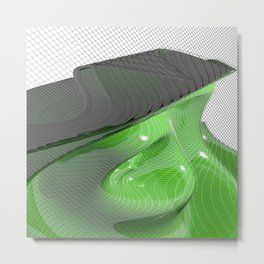 Waving green mathematical surface Metal Print