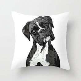 Black and White Boxer Throw Pillow