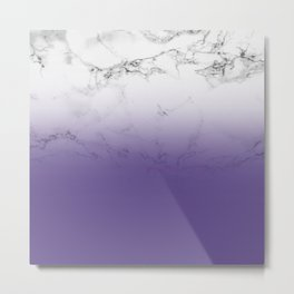 Modern white marble ultra violet purple ombre gradient Metal Print