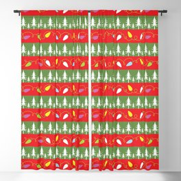 Christmas papers red and green Blackout Curtain