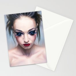 blue eyes, red lips Stationery Cards